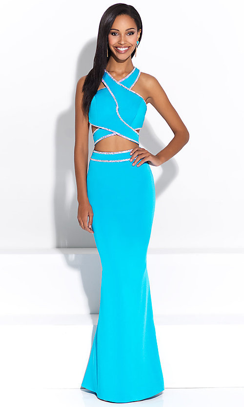 Image of Madison James two-piece high-neck long prom dress. Style: NM-17-233 Front Image