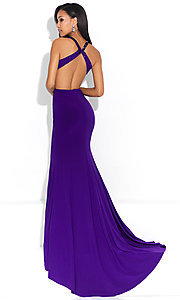 Image of open-back mock-two-piece long formal prom dress. Style: NM-17-253 Back Image