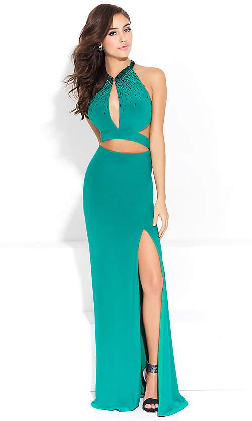 Image of open-back mock-two-piece long formal prom dress. Style: NM-17-253 Front Image