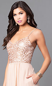 Image of sequin-bodice long gold prom dress with pockets. Style: BJ-1705 Detail Image 1