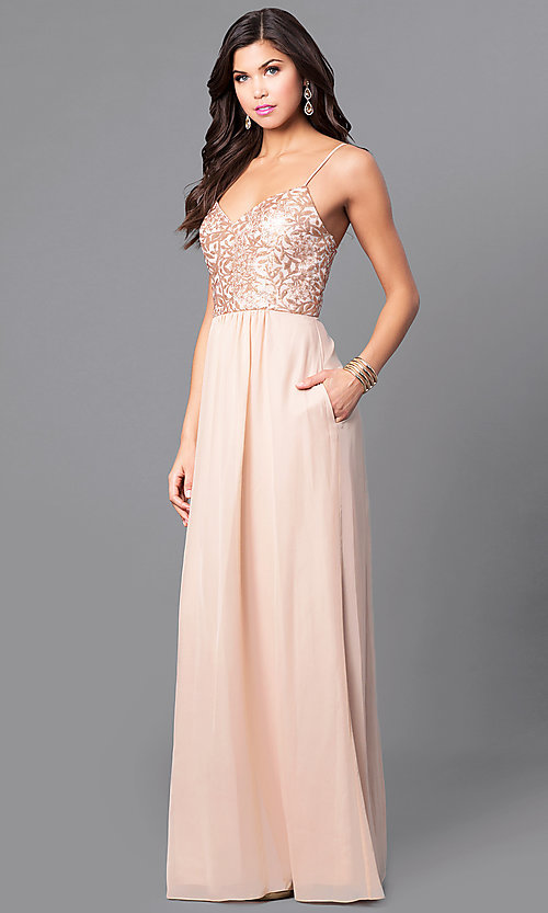 Image of sequin-bodice long gold prom dress with pockets. Style: BJ-1705 Front Image