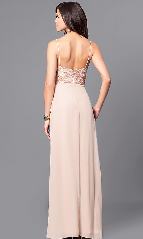 Image of sequin-bodice long gold prom dress with pockets. Style: BJ-1705 Back Image