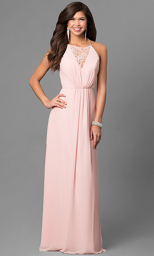 Image of chiffon long prom dress with front lace panel. Style: BJ-1708 Front Image