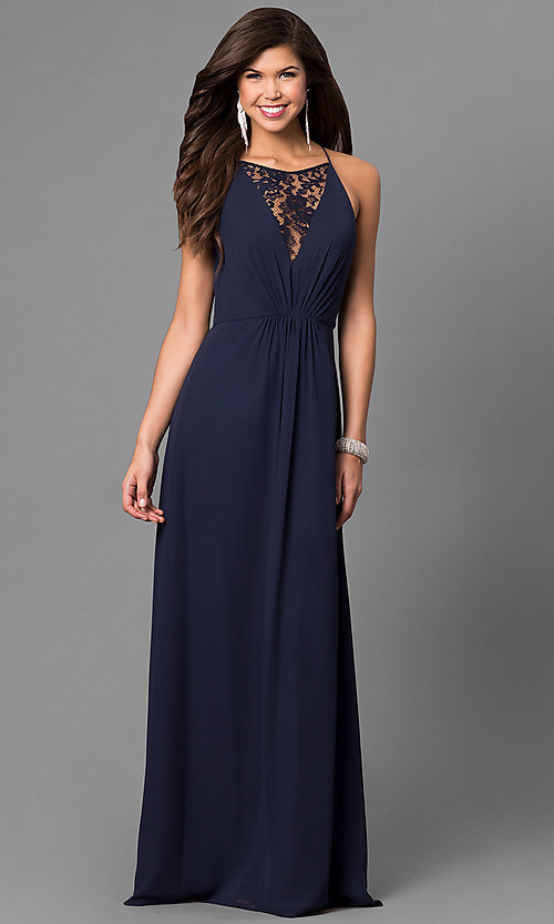 Image of chiffon long prom dress with front lace panel. Style: BJ-1708 Detail Image 1