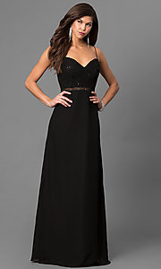 Image of onyx black formal long prom dress with sequins. Style: BJ-1710 Front Image