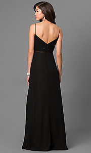Image of onyx black formal long prom dress with sequins. Style: BJ-1710 Back Image