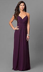 Image of eggplant purple long prom dress with lace back. Style: BJ-1724 Front Image