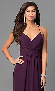 Image of eggplant purple long prom dress with lace back. Style: BJ-1724 Detail Image 2
