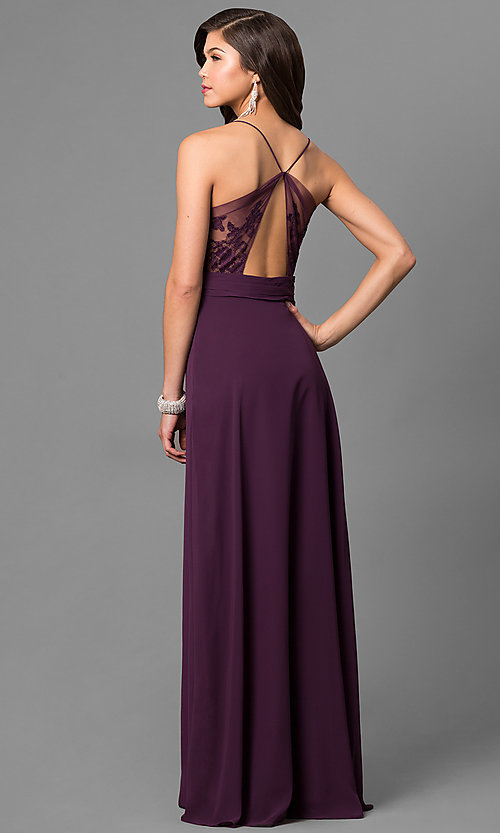 Image of eggplant purple long prom dress with lace back. Style: BJ-1724 Back Image