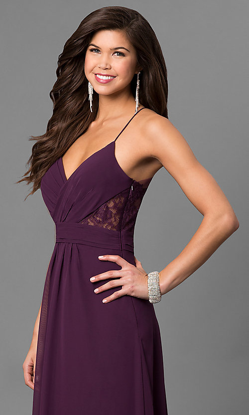 Image of eggplant purple long prom dress with lace back. Style: BJ-1724 Detail Image 3