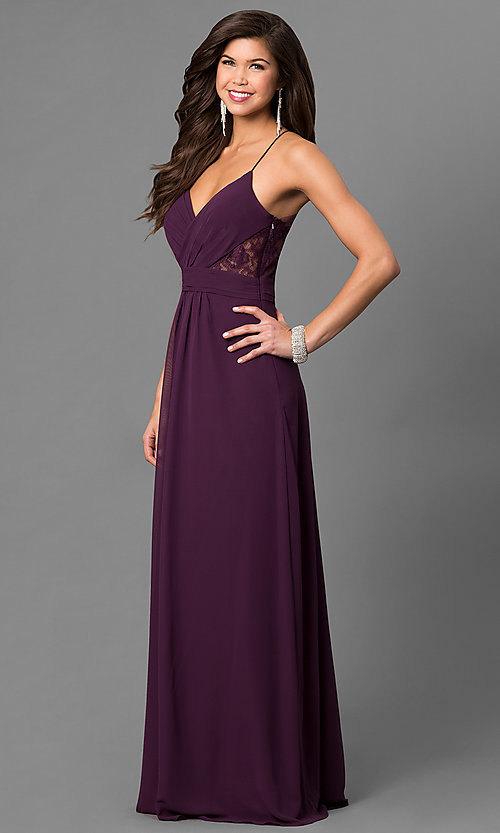Image of eggplant purple long prom dress with lace back. Style: BJ-1724 Detail Image 1