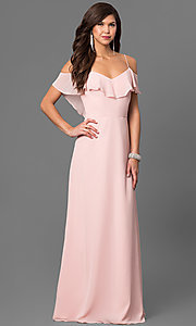 Image of blush pink cold-shoulder long prom dress by Bari Jay Style: BJ-1730 Front Image
