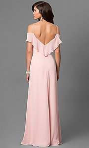 Image of blush pink cold-shoulder long prom dress by Bari Jay Style: BJ-1730 Back Image