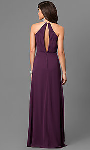 Image of eggplant purple long formal dress with empire waist. Style: BJ-BC-1723 Back Image