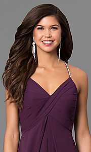 Image of eggplant purple long formal dress with empire waist. Style: BJ-BC-1723 Detail Image 1