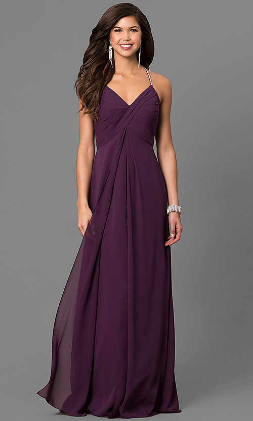 Image of eggplant purple long formal dress with empire waist. Style: BJ-BC-1723 Front Image