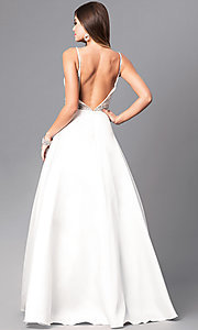 Image of long formal off-white prom dress with beaded bodice. Style: JO-JVN-JVN51488 Back Image