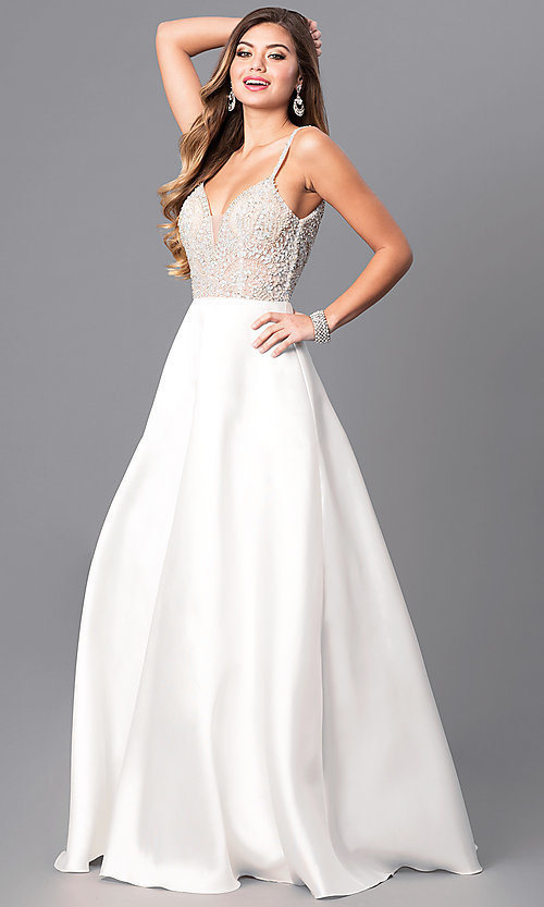 Image of long formal off-white prom dress with beaded bodice. Style: JO-JVN-JVN51488 Front Image