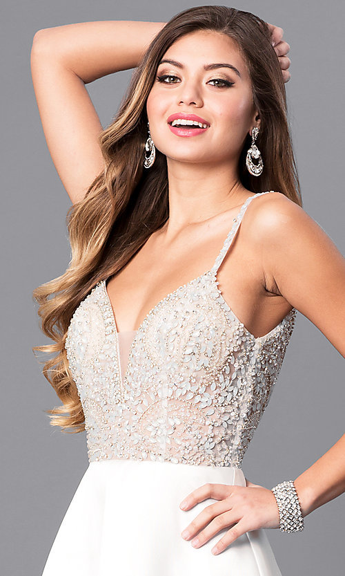 Image of long formal off-white prom dress with beaded bodice. Style: JO-JVN-JVN51488 Detail Image 1