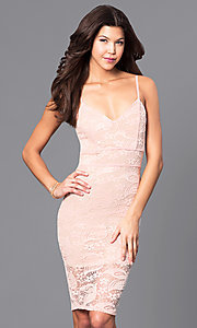 Image of lace holiday short party dress with v-neckline. Style: DC-44495 Detail Image 3