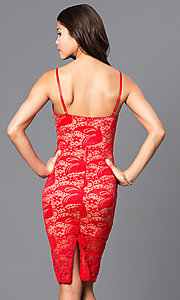 Image of lace holiday short party dress with v-neckline. Style: DC-44495 Back Image