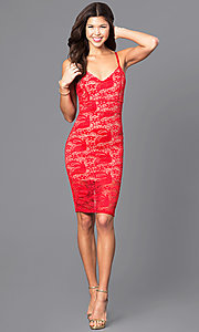 Image of lace holiday short party dress with v-neckline. Style: DC-44495 Detail Image 2