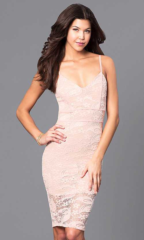 Image of lace holiday short party dress with v-neckline. Style: DC-44495 Front Image