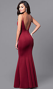 Image of deep v-neck long prom dress with mermaid skirt. Style: MCR-1702 Front Image