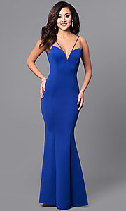 Image of deep v-neck long prom dress with mermaid skirt. Style: MCR-1702 Detail Image 2