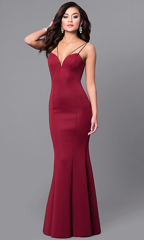 Image of deep v-neck long prom dress with mermaid skirt. Style: MCR-1702 Back Image