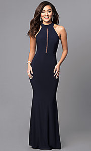 Image of high-neck long prom dress with sheer-illusion back. Style: MCR-2023 Front Image