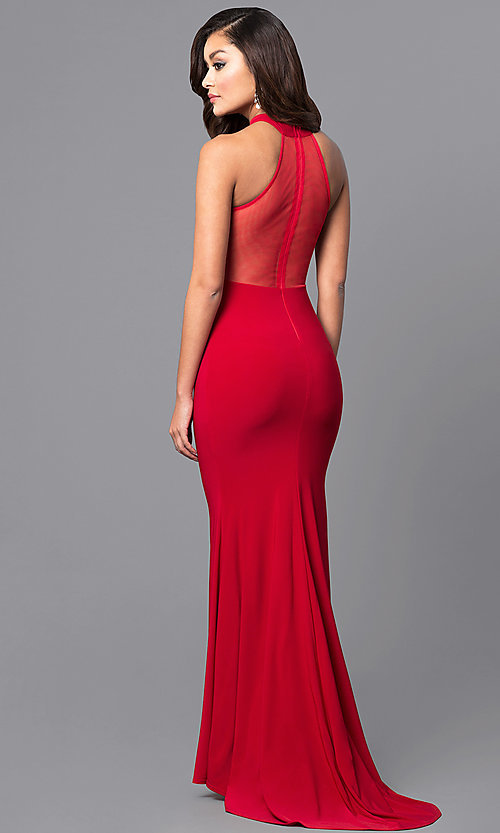 Image of high-neck long prom dress with sheer-illusion back. Style: MCR-2023 Back Image