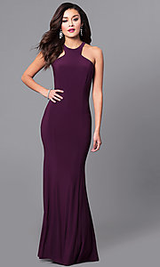 Image of high-neck long formal wedding-guest dress. Style: MCR-2160 Front Image