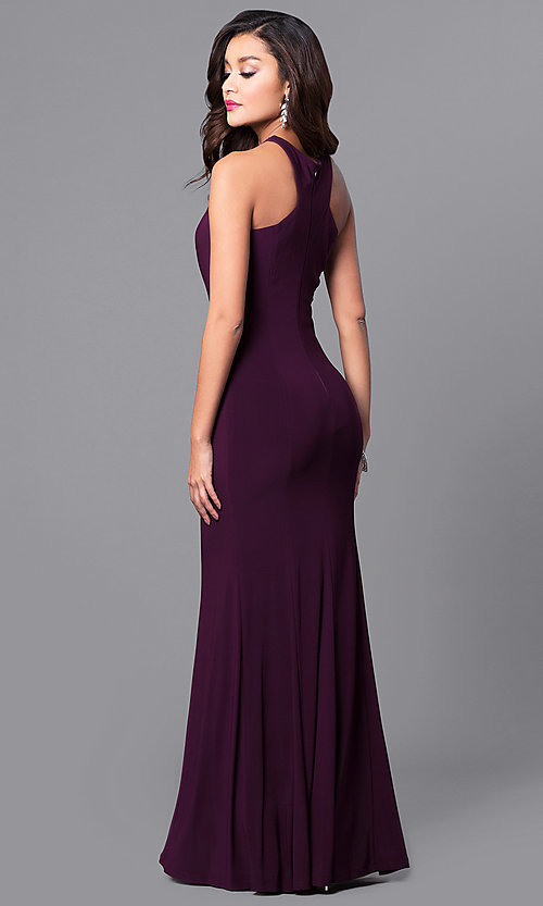 Image of high-neck long formal wedding-guest dress. Style: MCR-2160 Back Image