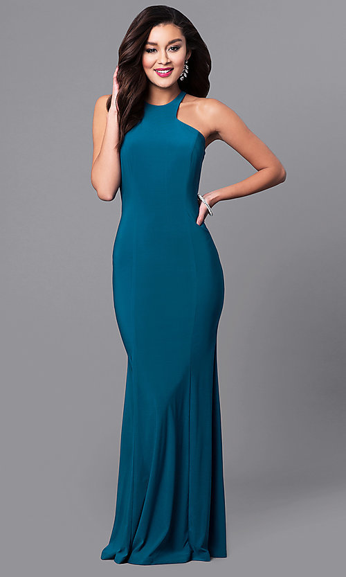Image of high-neck long formal wedding-guest dress. Style: MCR-2160 Detail Image 1