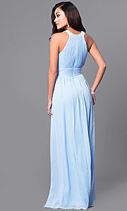 Image of pastel long prom dress with ruched high-neck bodice.  Style: MCR-1903 Back Image