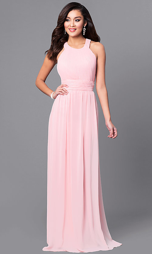 Image of pastel long prom dress with ruched high-neck bodice.  Style: MCR-1903 Front Image