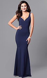 Image of formal navy blue mermaid long prom dress with v-neck. Style: MCR-2060 Front Image