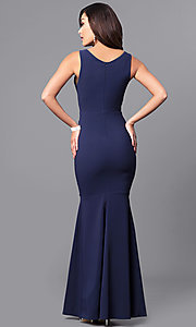 Image of formal navy blue mermaid long prom dress with v-neck. Style: MCR-2060 Back Image