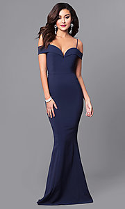 Image of off-the-shoulder sweetheart long formal dress. Style: MCR-1562 Detail Image 1