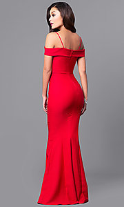 Image of off-the-shoulder sweetheart long formal dress. Style: MCR-1562 Back Image