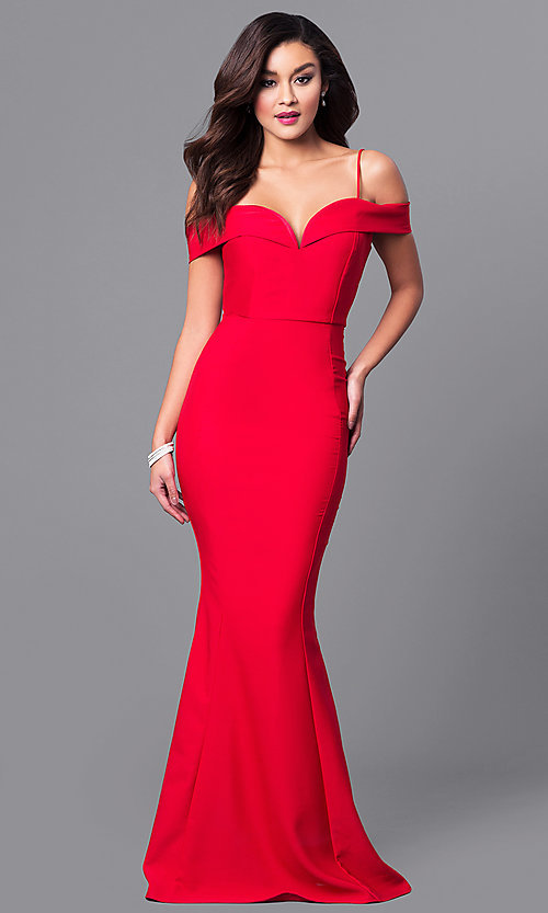 Image of off-the-shoulder sweetheart long formal dress. Style: MCR-1562 Front Image