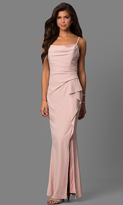 Image of square-neck long formal dress with side ruffle. Style: JU-MA-262909 Detail Image 2