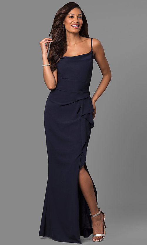 Image of square-neck long formal dress with side ruffle. Style: JU-MA-262909 Front Image
