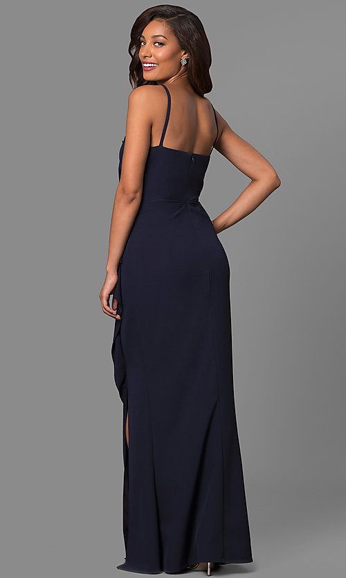 Image of square-neck long formal dress with side ruffle. Style: JU-MA-262909 Back Image