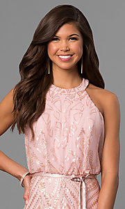 Image of sequined pink long formal prom dress with racerback. Style: JU-MA-263346 Detail Image 1