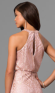 Image of sequined pink long formal prom dress with racerback. Style: JU-MA-263346 Detail Image 2