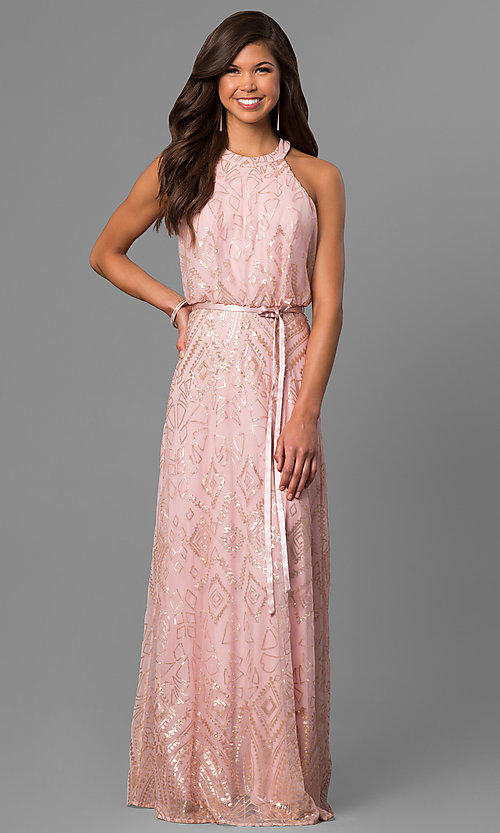 Image of sequined pink long formal prom dress with racerback. Style: JU-MA-263346 Front Image