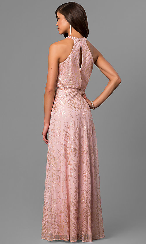Image of sequined pink long formal prom dress with racerback. Style: JU-MA-263346 Back Image