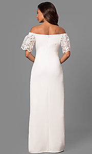 Image of off-the-shoulder long formal dress with lace sleeves. Style: JU-MA-263509 Detail Image 1